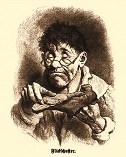 Holzstich: alter Flickschuster mit Nickelbrille hält kaputten Schuh in Händen
