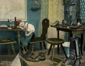 koloriertes Foto: kleiner Schusterjunge am Tisch neben Arbeitsplatz eingeschlafen
