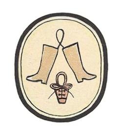 Farbdruck: ein Paar Stiefel und ein Schnürschuh in einem Oval