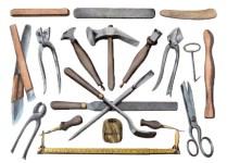 Farblitho: diverse Werkzeuge