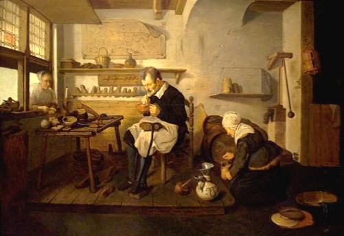 Gemälde: Schuster arbeitet auf einem Podest, daneben zapft Frau Wein vom Fass
