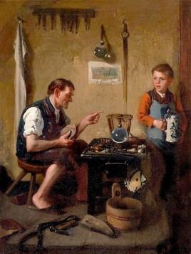 Gemälde: Junge mit Bierkrug beim Schuster in der Werkstatt