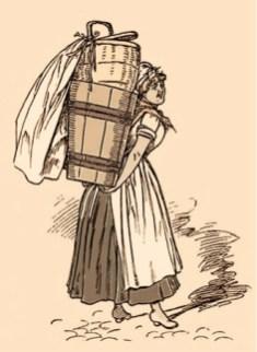 nachkolorierte Zeichnung: Frau mit Wäscherückentrage