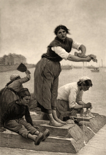 sw Gemäldefoto: Der Waschplatz - Frauen bearbeiten Wäsche auf Waschpodest am Fluss