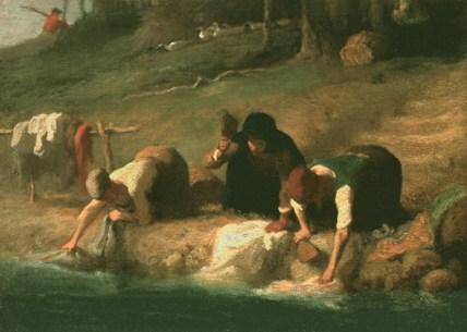 Gemälde: Wäscherinnen mit Wäscheklopfern am Fluss