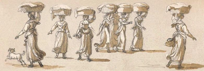 lavierte Zeichnung: mehrere Frauen mit Wäschekörben auf dem Kopf