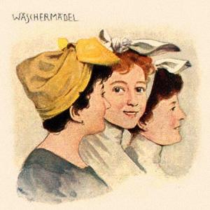 Farbdruck: drei Wäscherinnen mit typisch über Stirn verkotetem Kopftuch