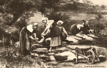 sw Gemäldefoto: bretonische Waschfrauen an einem Bach