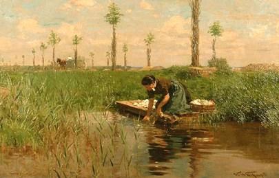 Gemälde: ländliche Szene mit Wäsche waschender Frau an schilfigem Seeufer - Frankreich, um 1905