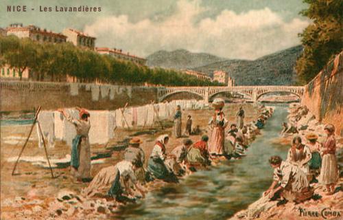 Gemälde: Wasch- und Trockenplatz am Fluß Var in Nizza - um 1910