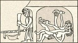 Zeichnung: beschäftigter Badstüber vor sowie drei liegende Frauen in Badestube - 13. Jh