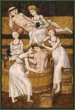 kolorierter Kupferstich: Dirnen verwöhnen männliche Badegäste