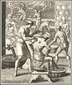 Kupferstich aus dem Ständebuch: quirliges Treiben in einer Badestube