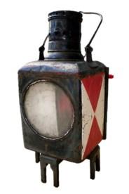Farbfoto: Signallampe mit Tragbügel