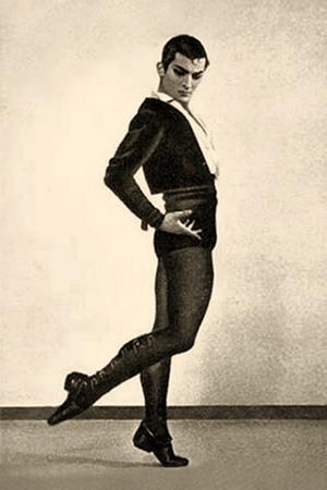 sw Foto: russischer Ballettänzer in eleganter Pose