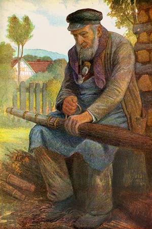 Gemälde: Pfeife rauchender Besenbinder fertigt sitzend einen Besen