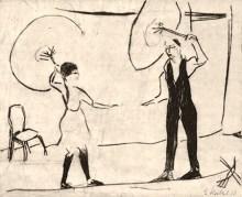 sw Zeichnung: Mann übt mit Mädchen auf kurz über dem Boden gespanntem Seil
