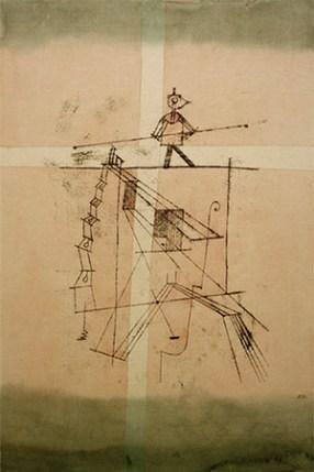 farbige Künstlerkarte: Mann mit Balancierstange auf hohem Seil