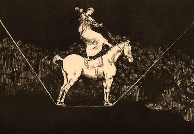 Federzeichnung: Frau mit Pferd auf dem Seil balancierend