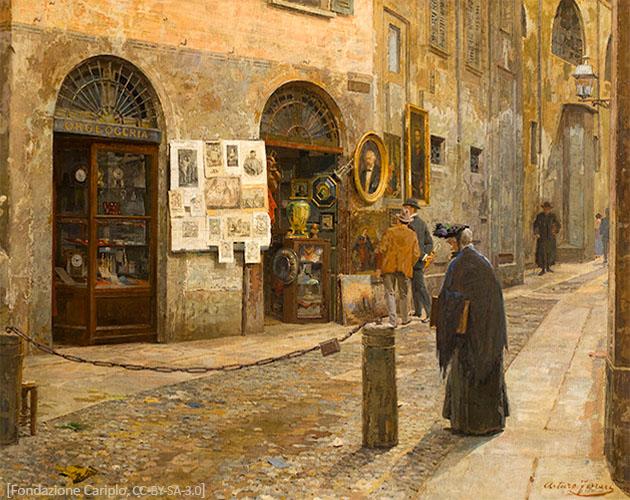 Gemälde: Antiquitätenladen in einer engen Gasse in Mailand - 1912
