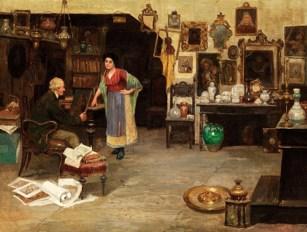 Gemälde: Händler in seinem Laden begutachtet ein Bild, das ihm eine Frau gebracht hat - Italien, 1920