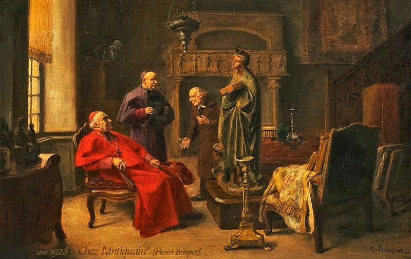Gemälde: Geistlicher zu Besuch bei einem Antiquitätenhändler