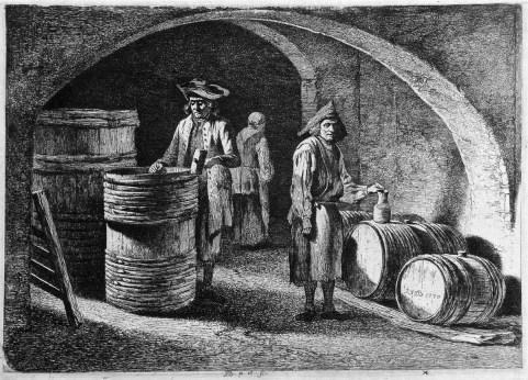sw-Stich: Fassbinder in einem Kellergewölbe