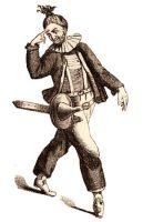 Holzstich: früher Hanswurst mit Halskrause und Spitzhut