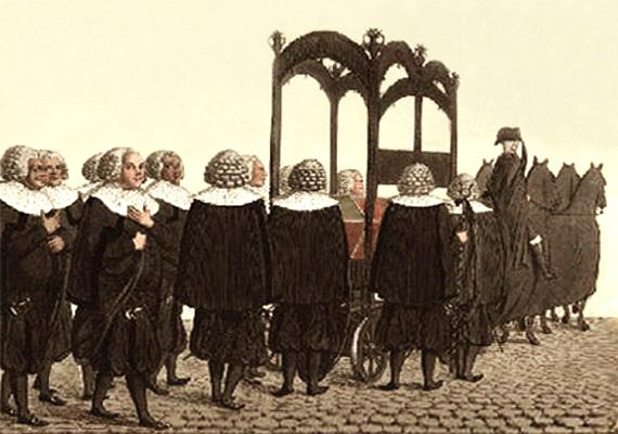 kolorierte Litho: dem Trauerzug voran zieht Pferdegespann geschmückten Wagen mit Sarg - 1822