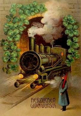 gemalte Karte: Bahnwart mit Flagge vor Tunnel, aus dem Dampflok kommt - 1907