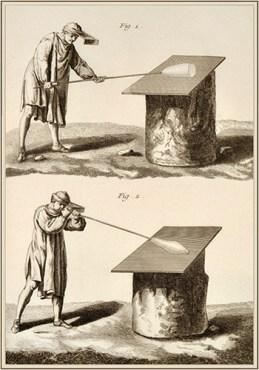 Kupferstich: zeigt zwei Phasen des Abrollens auf einer Platte beim Glasblasen - 1770