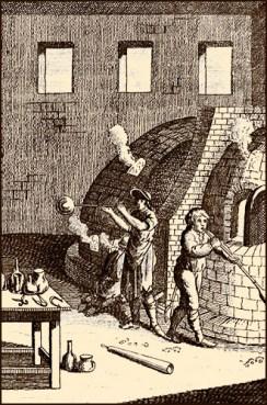 Kupferstich: drei vom einem Schmelzofen arbeitende Männer
