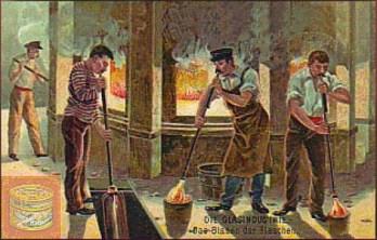 Farbdruck: vier Arbeiter bei der Herstellung von Flaschen