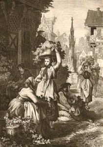 sw Gemäldefoto: Frauen bringen Hopfen in Körben auf ihrem Kopf in die Stadt - 1865
