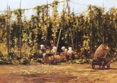 Gemälde: Mann reißt Hopfenranken von den Pfählen, Frauen und Mädchen machen sie transportfertig -1890