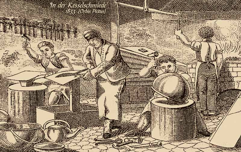 Holzstich: vier Kesselschmiede bei der Arbeit