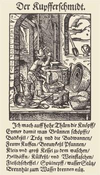 Holzschnitt: Kupferschmied bei der Arbeit in seiner Werkstatt