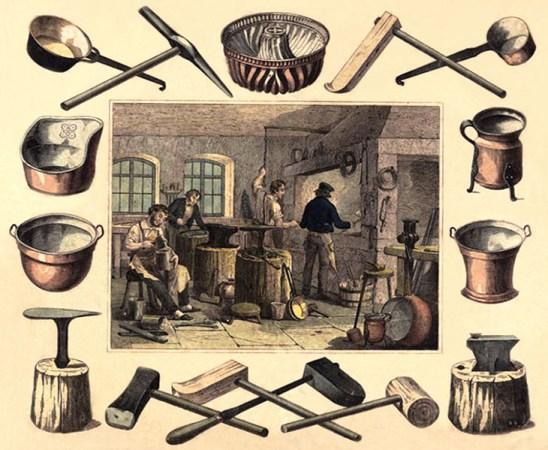 Farblitho: mittig Werkstatt umrahmt von Werkzeugen und Produkten