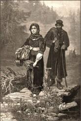 Stich: Paar mit Lumpenbündeln und Stock unterwegs am Waldrand