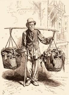 Holzstich: Chinesischer Immigrant mit 2 Lumpenkörben an Schulerstange - 1875