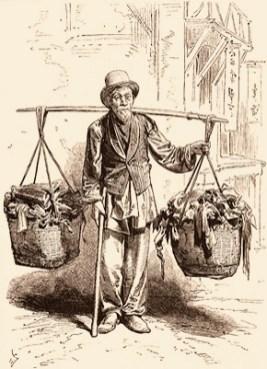 Holzstich: Chinese mit 2 Lumpenkörben an Schulerstange - 1875