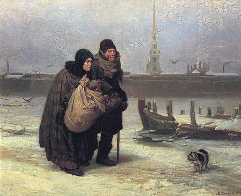 Gemälde: Lumpensammlerpaar im verschneiten Winter - 1876