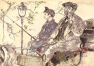 Pastellzeichnung: Klüngelskerl mit Pferdekarre spielt Flöte