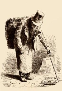 Holzstich: Lumpensammler durchsucht Abfall mit Pickerstab - 1855
