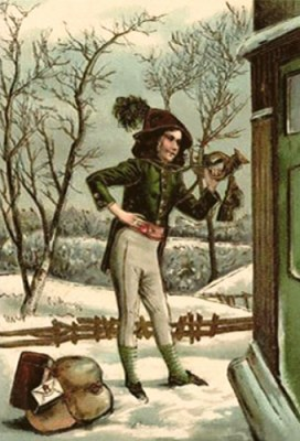 Farblitho: Bote mit Filzkappe, neben sich Pakete im Schnee vor einer Haustür - 1800