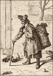 Kupferstich: Mann mit Rückenkiepe voller Kienruß