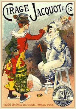 Plakat: Clown mit geschlossenen Augen wird mit schwarzer Schuhwichse geschminkt - 1894