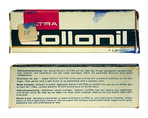 Farbfoto: alte Pappschachtel für Schuhcremetube