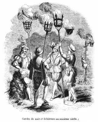 sw-Bild: vier Nachtwachen mit Gasfackeln
