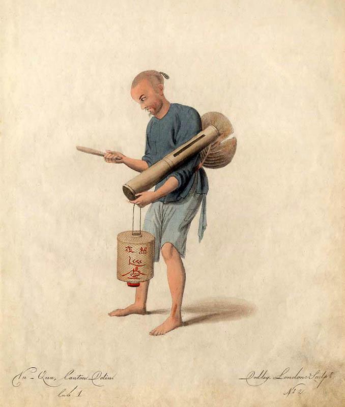 asiatischer Nachtwächter mit Papierlaterne und Klangholz
